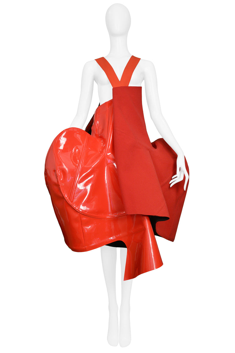 CDG RED WOOL & VINYL STRUCTURED APRON DRESS BLOOD AND ROSES 2015