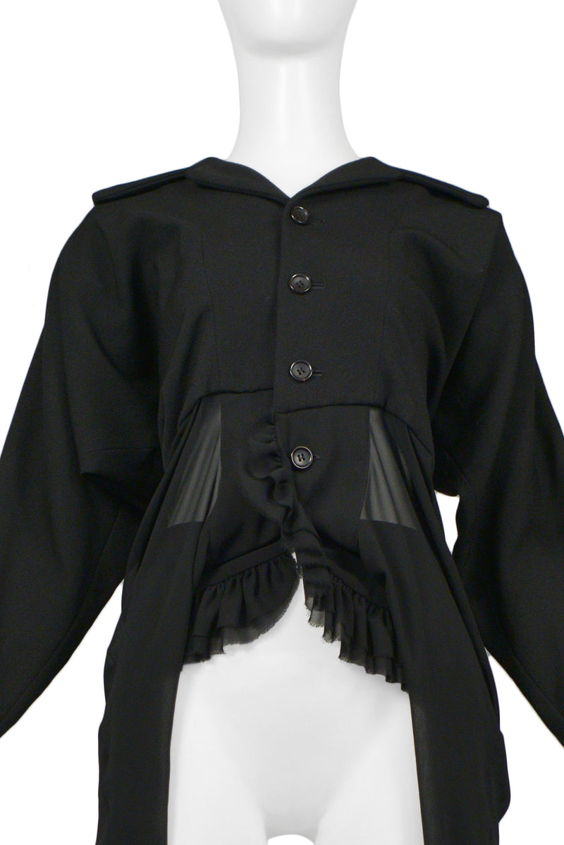 CDG BLACK WOOL & CHIFFON RUFFLE JACKET