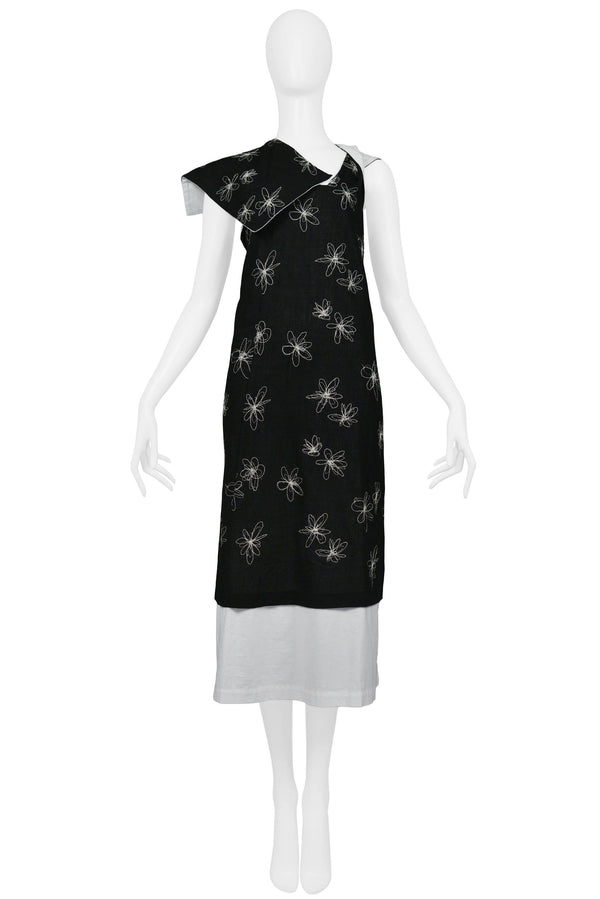 CDG BLACK & WHITE HEM EMBROIDERED FLOWER DRESS 1999