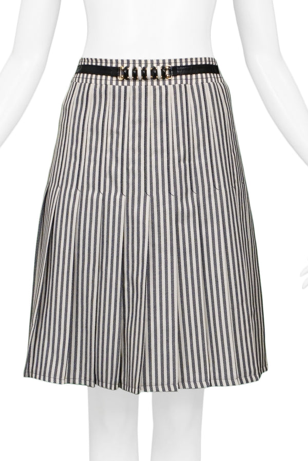 CELINE BLACK & WHITE STRIPE BOX PLEAT SKIRT WITH HARDWARE