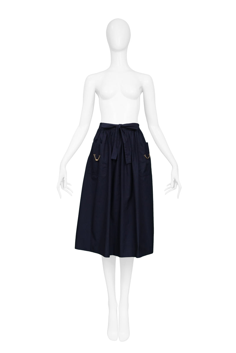 CELINE CLASSIC BLUE COTTON SKIRT WITH GOLD CHAINS