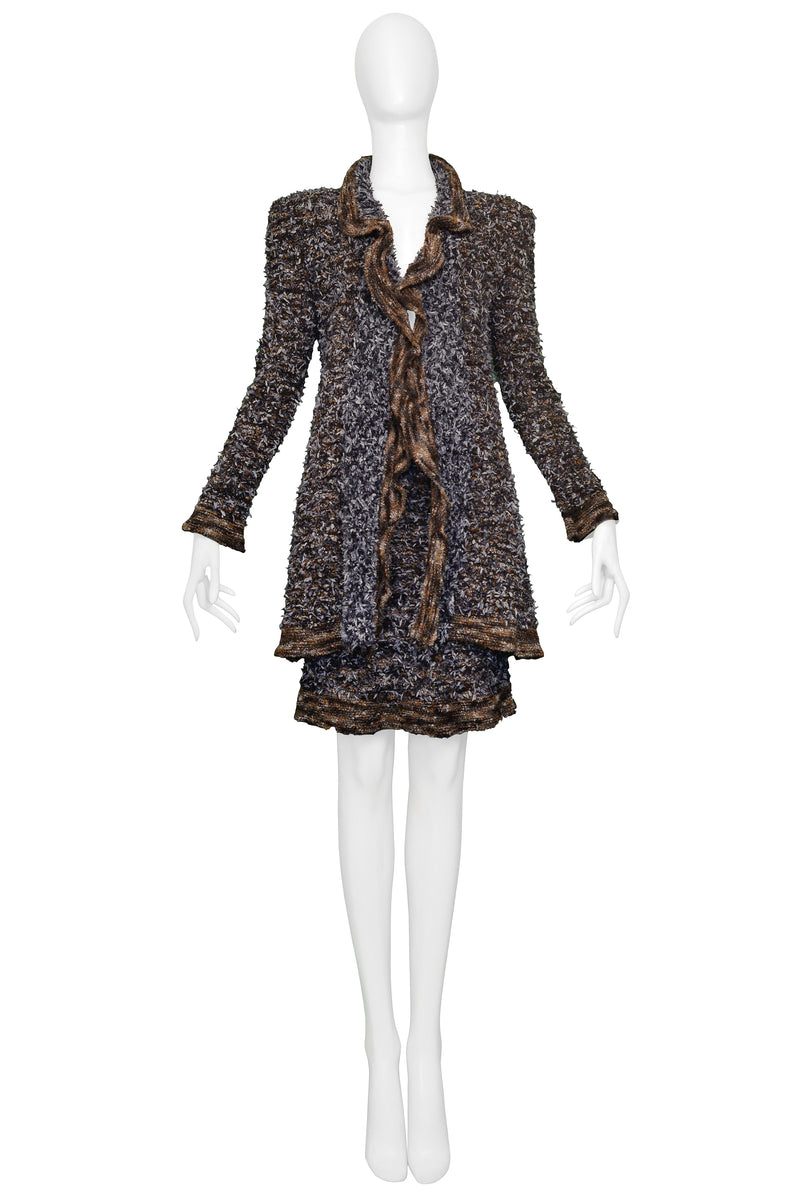 CHANEL BROWN & BLACK BOUCLE SKIRT SUIT 1997
