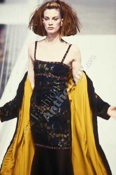 CHANEL SILK CHIFFON WATERCOLOR BEADED GOWN 1997