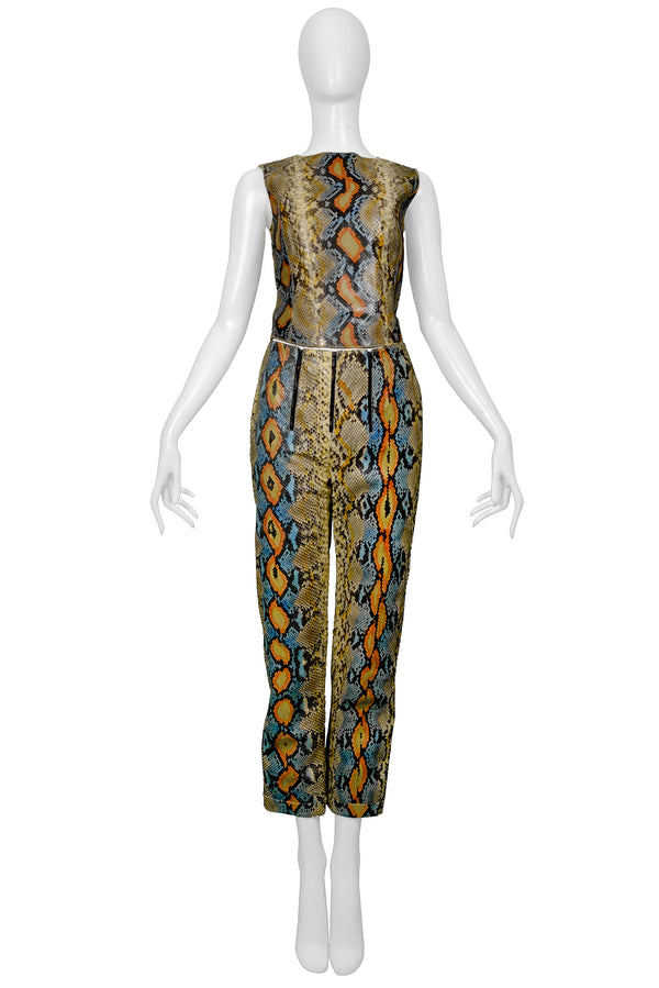 CHANEL MULTICOLOR SNAKE PANTSUIT ENSEMBLE 2000