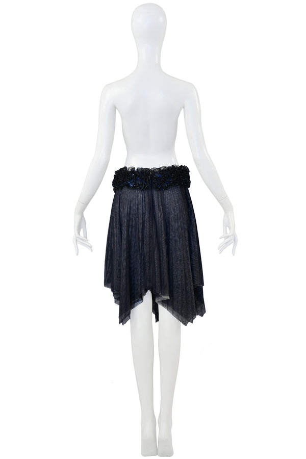 CHANEL PLEATED SKIRT WITH FLORAL SEQUIN WAISTBAND