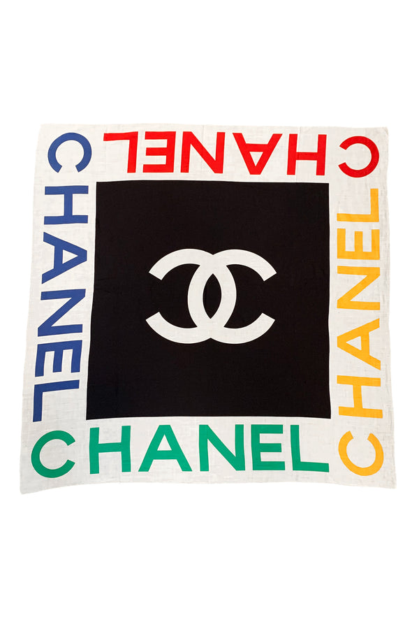 CHANEL MULTICOLOR CHANEL LOGO SCARF