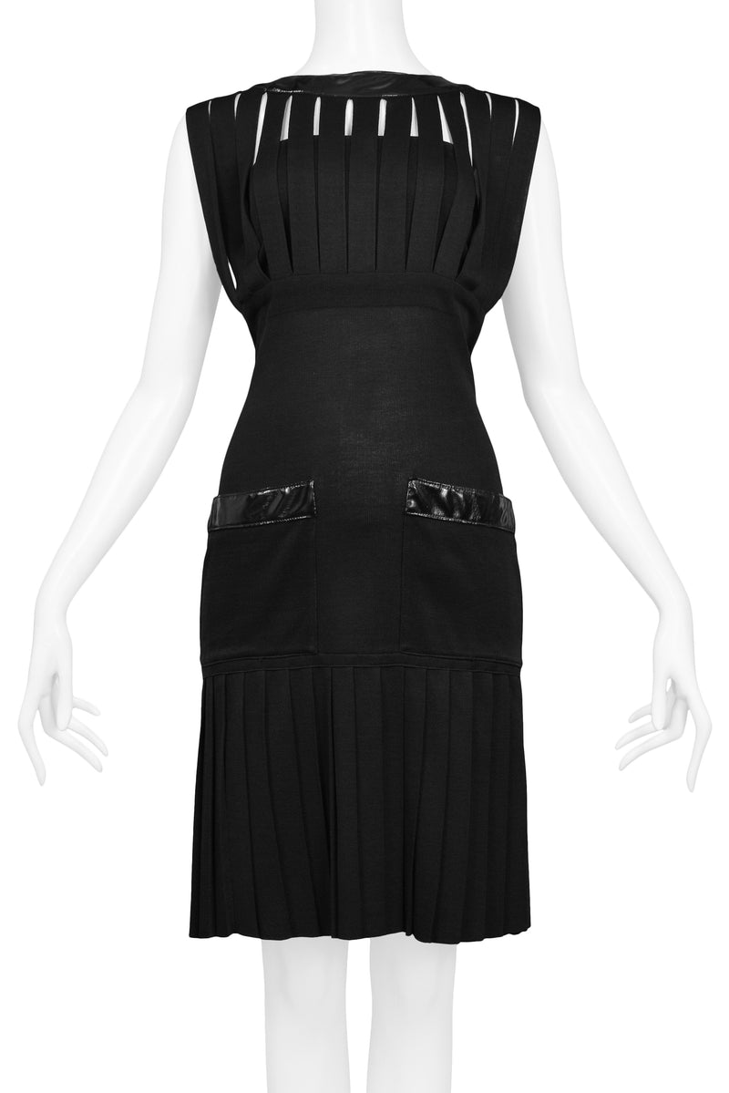 CHANEL BLACK KNIT & WET LOOK CAGE DRESS