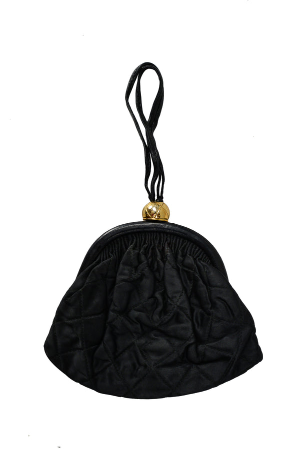 BLACK SATIN WRISTLET BAG WITH LEATHER INTERIOR
