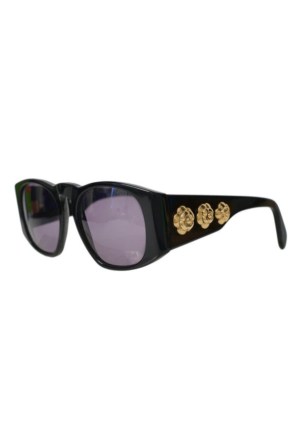 CHANEL BLACK SUNGLASSES WITH GOLD CAMELLIA MEDALLIONS