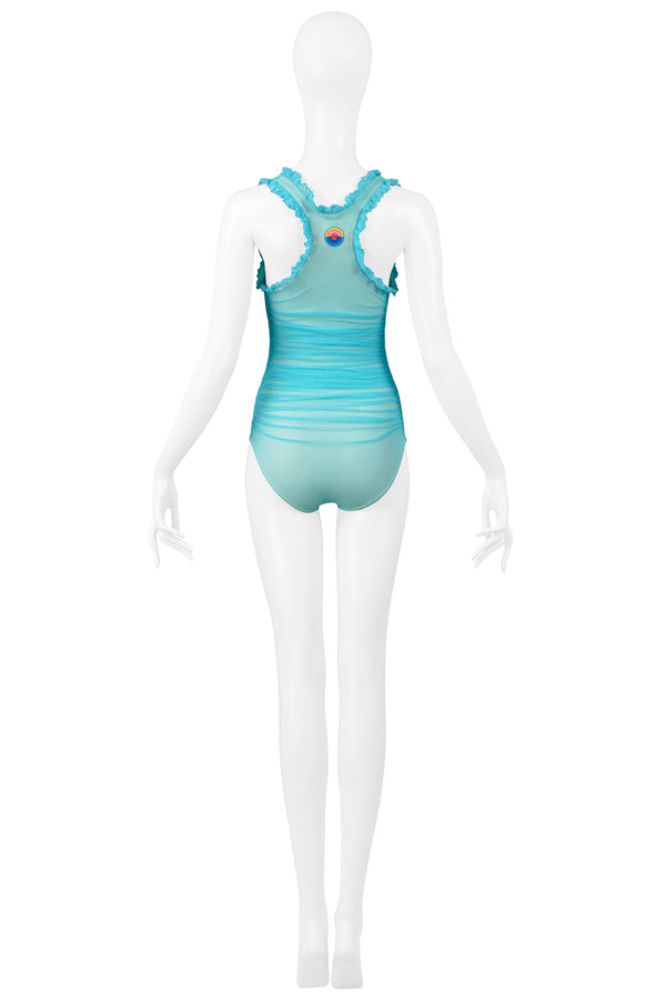 CHANEL TURQUOISE RUCHED ONE PIECE SWIMSUIT
