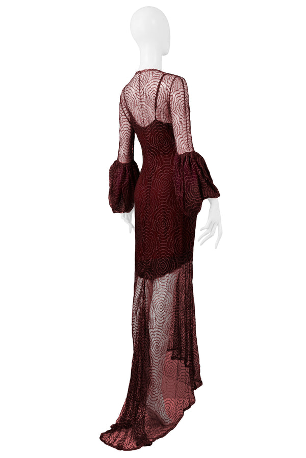 LAGERFELD FOR CHLOE BURGUNDY LACE GOWN 1994
