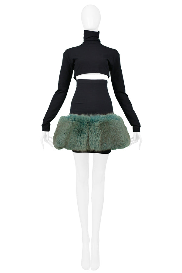 COMPLICE BY DOLCE & GABBANA GREEN MINK FUR SKIRT ENSEMBLE 1991
