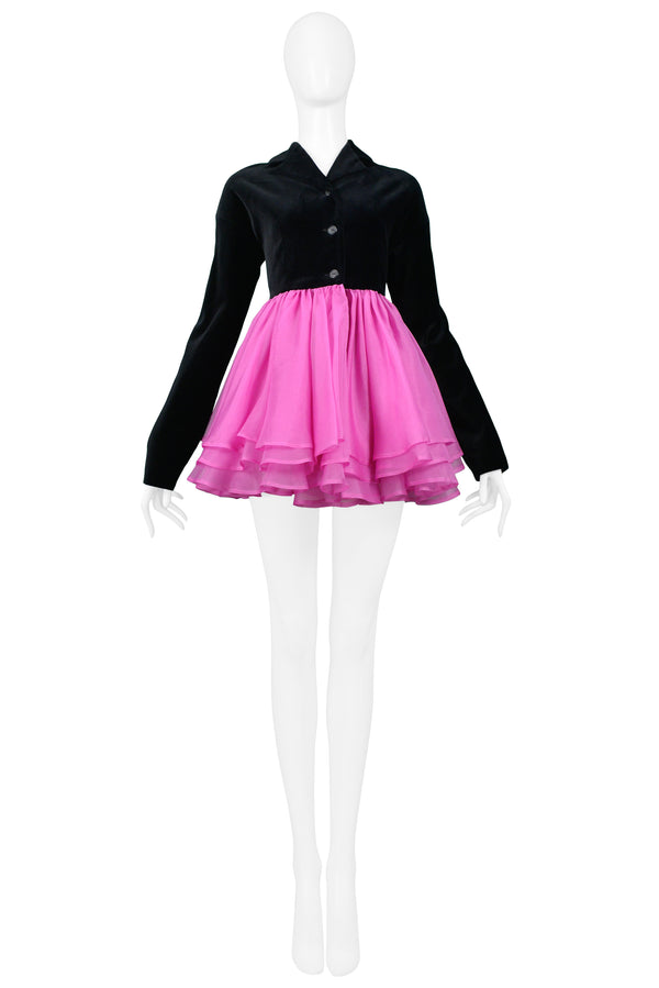 COMPLICE BLACK VELVET JACKET WITH ATTACHED PINK POUF SKIRT 1991