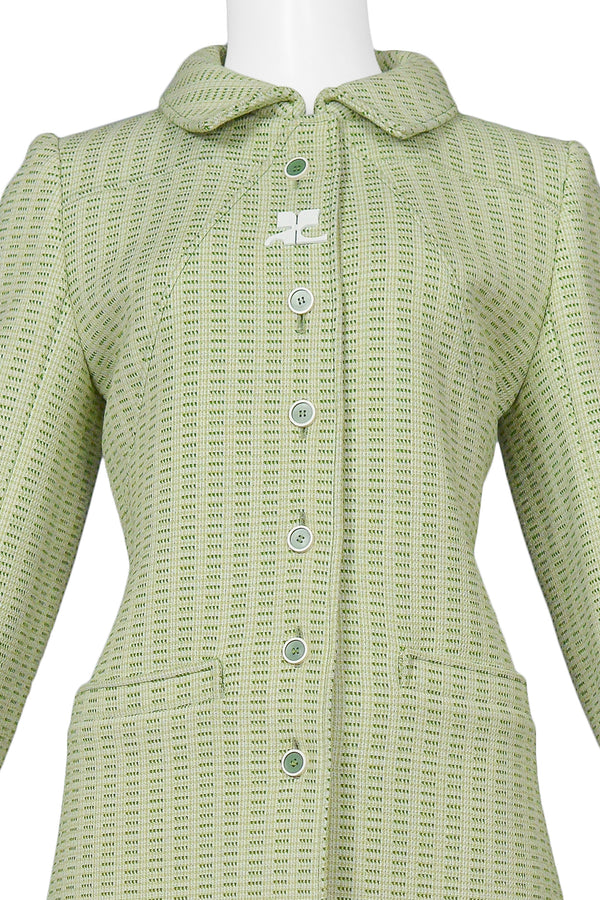 COURREGES MOSS GREEN TWEED LOGO COAT