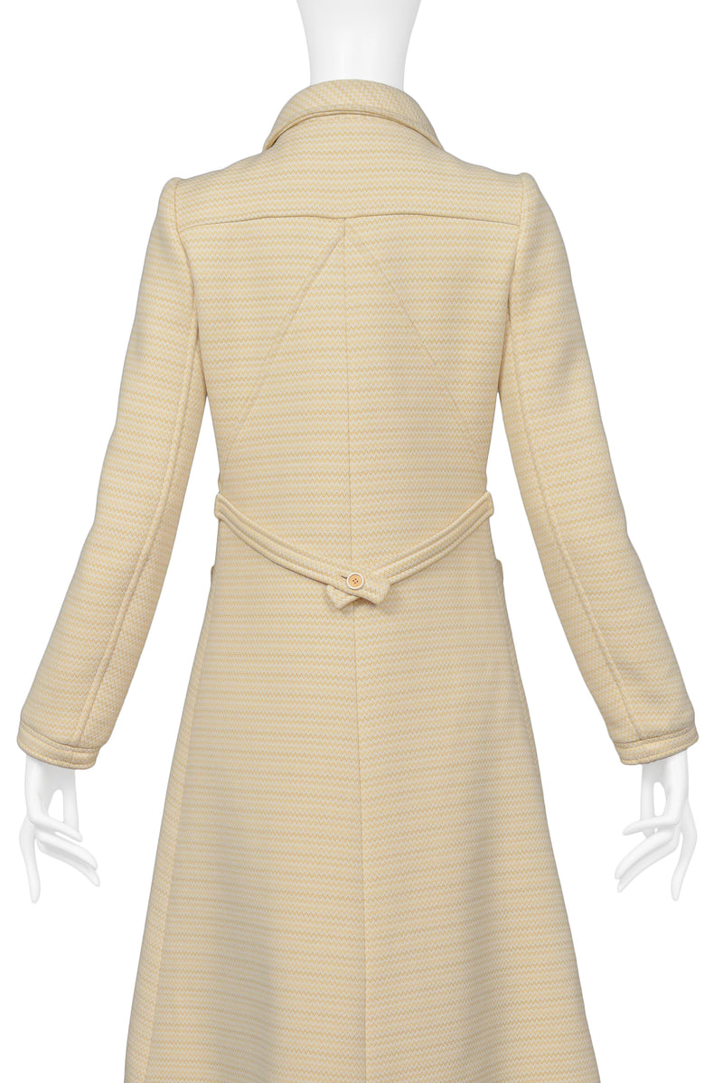 COURREGES OFF WHITE AND BROWN ZIG ZAG COAT