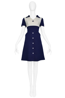COURREGES BLUE & WHITE BUTTON DRESS