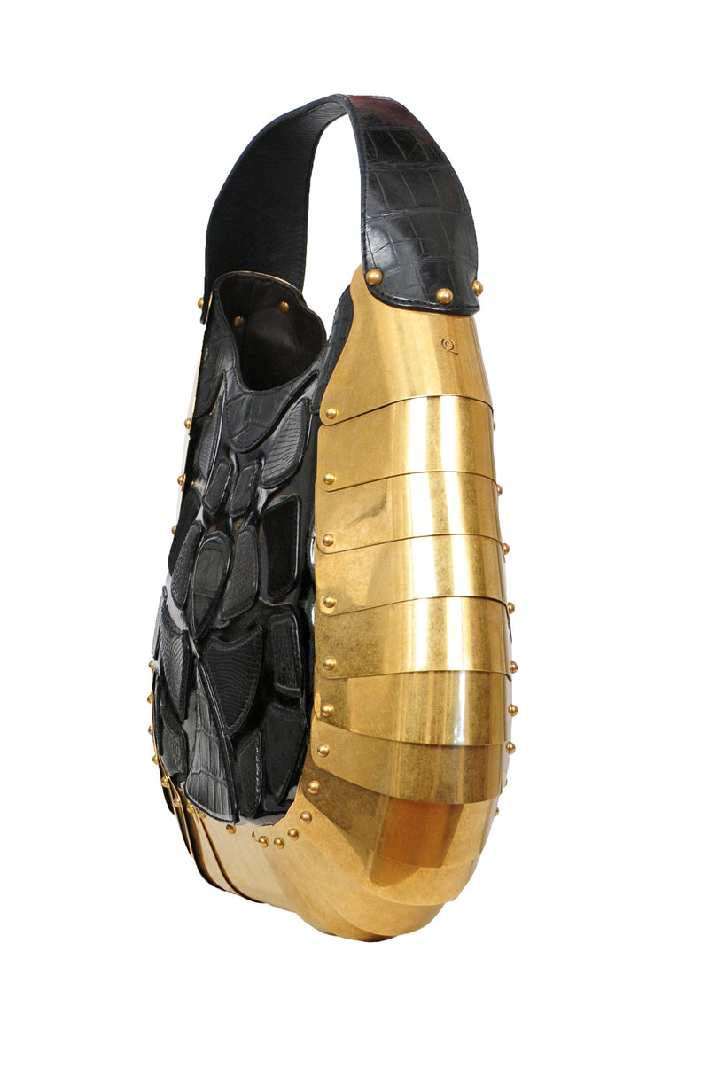 ALEXANDER MCQUEEN RARE LIMITED EDITION BRASS ARMOR BAG 2007