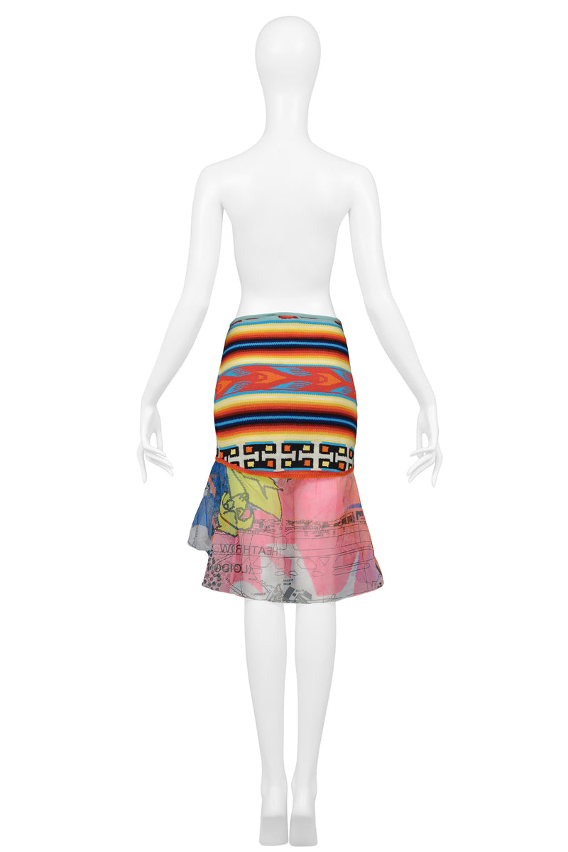 DIOR NAVAJO BLANKET & MAP PRINT SKIRT 2001