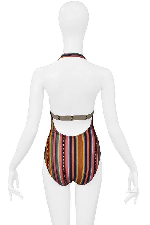 DIOR STRIPE BLANKET PRINT SWIMSUIT