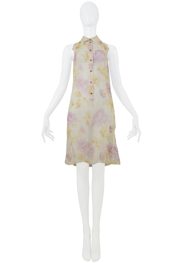DIOR CHIFFON FLORAL TUNIC DRESS 2001