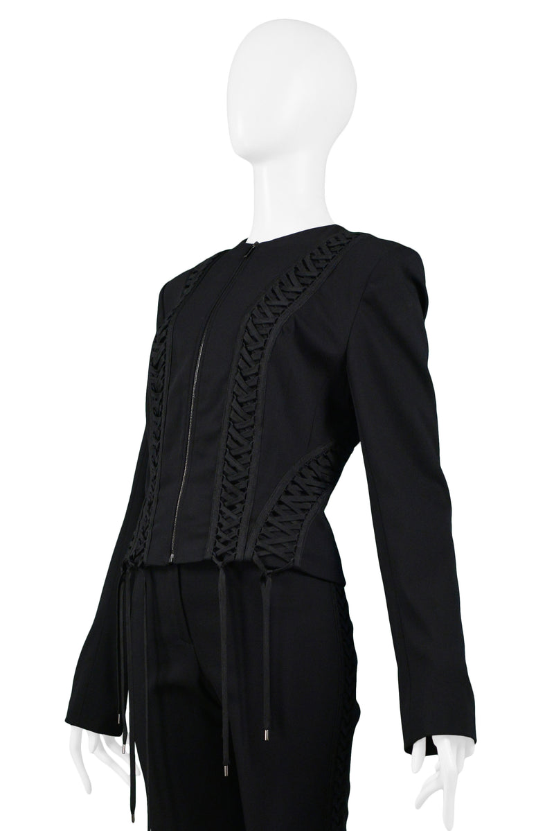 DIOR BLACK ZIP FRONT CORSET PANT SUIT ENSEMBLE AW 2002