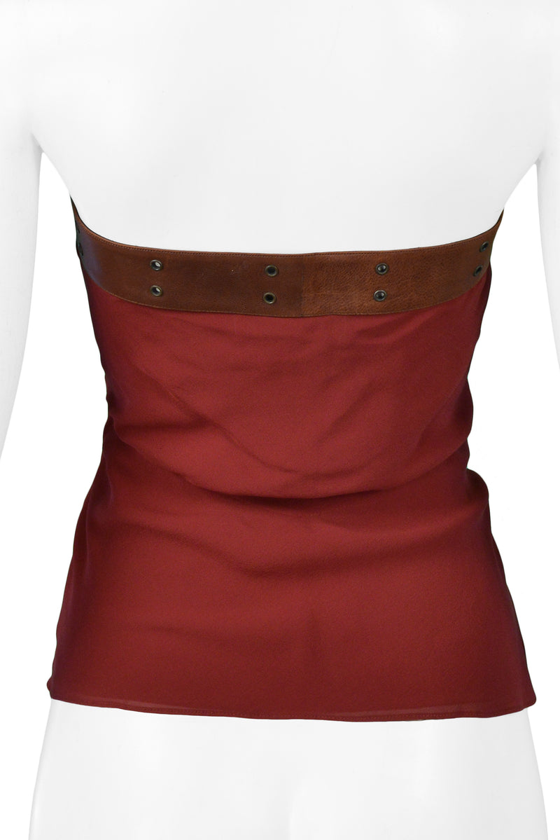 DIOR RED SEQUIN TOP WITH LEATHER BELT STRAP 2002