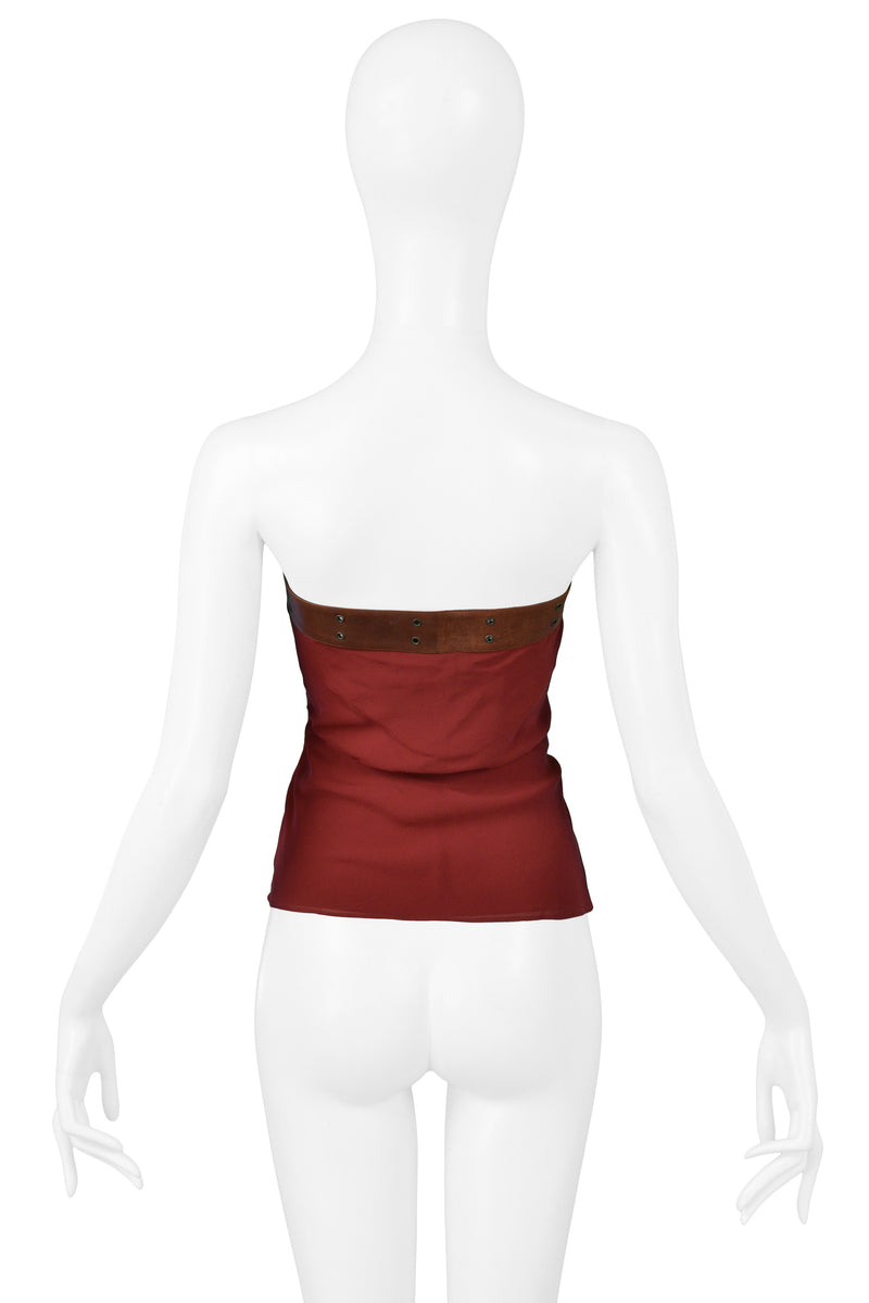 DIOR 2002 RED SEQUIN TOP WITH LEATHER BELT STRAP