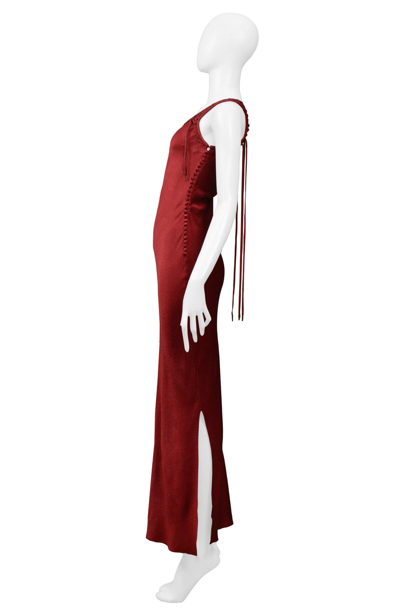 DIOR BURGUNDY SATIN SLIP DRESS WITH LACES 2002