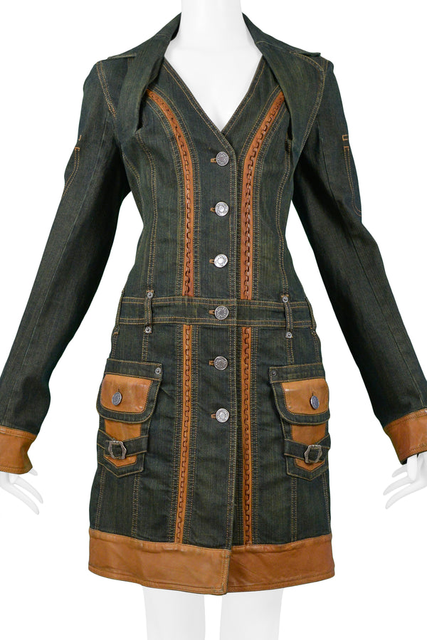 DIOR DENIM COAT DRESS WITH TAN LEATHER TRIM
