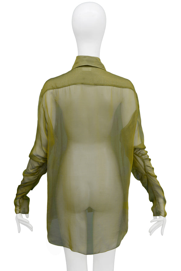 DIOR LONG OLIVE GREEN SHEER BLOUSE 2002
