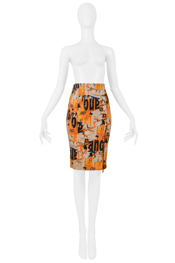 DIOR ORANGE LOGO PRINT PENCIL SKIRT 2001