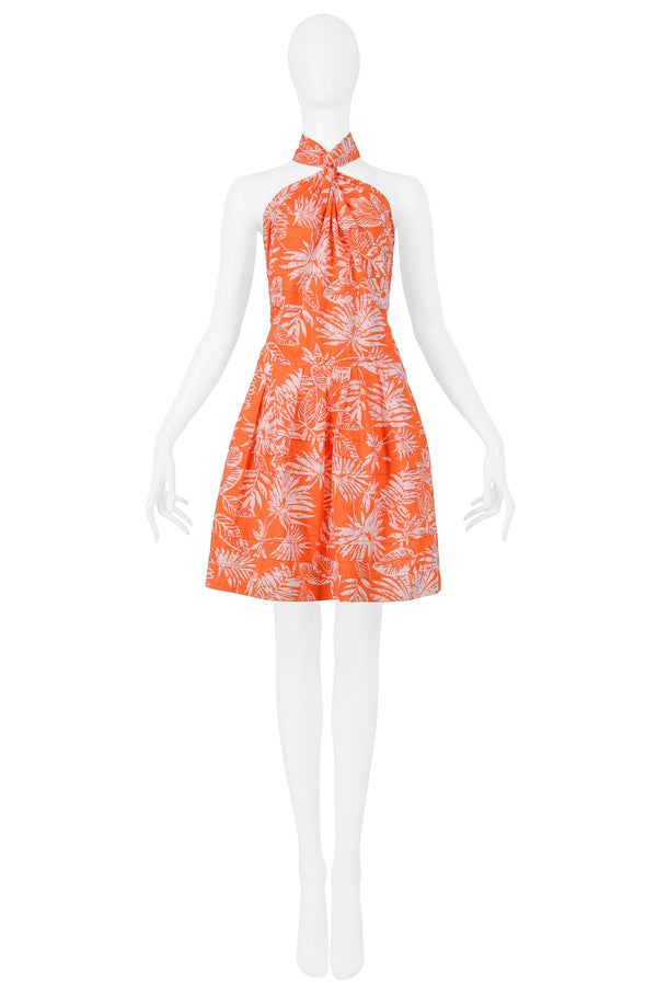 DIOR ORANGE & WHITE LEAF PRINT HALTER DRESS 2011