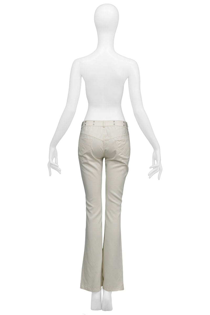 DIOR WHITE PANTS WITH CHROME HARDWARE