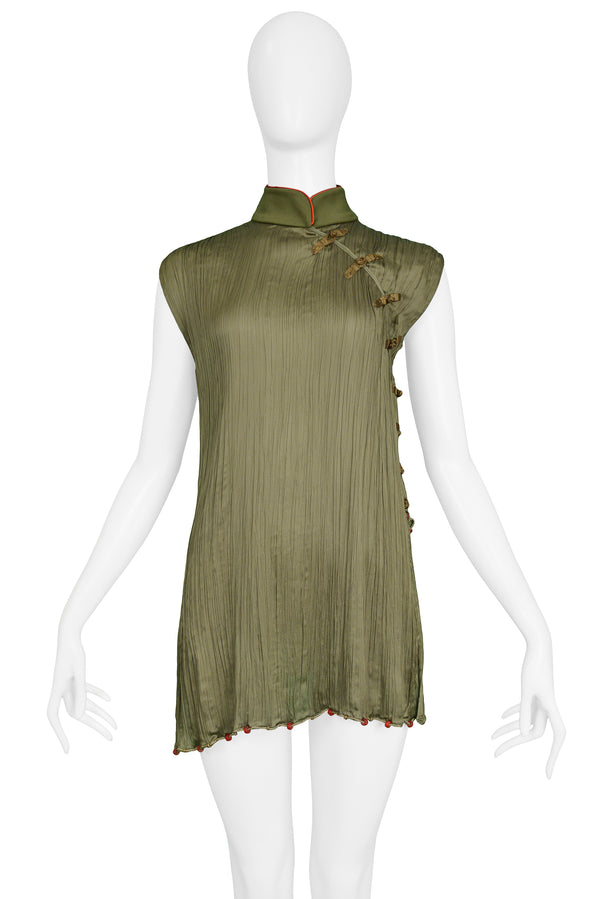 DIOR GREEN SILK CHEONGSAM BLOUSE 1999
