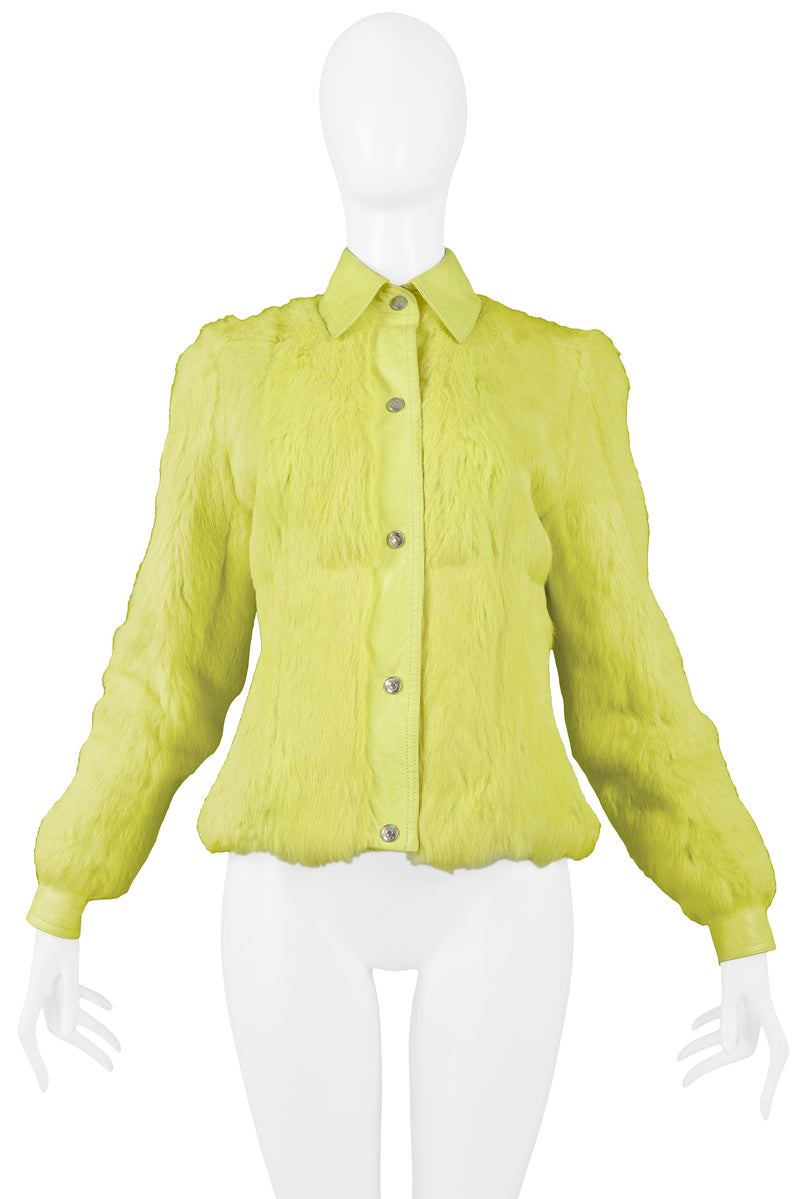 DIOR NEON YELLOW FUR AND LEATHER JACKET 2001
