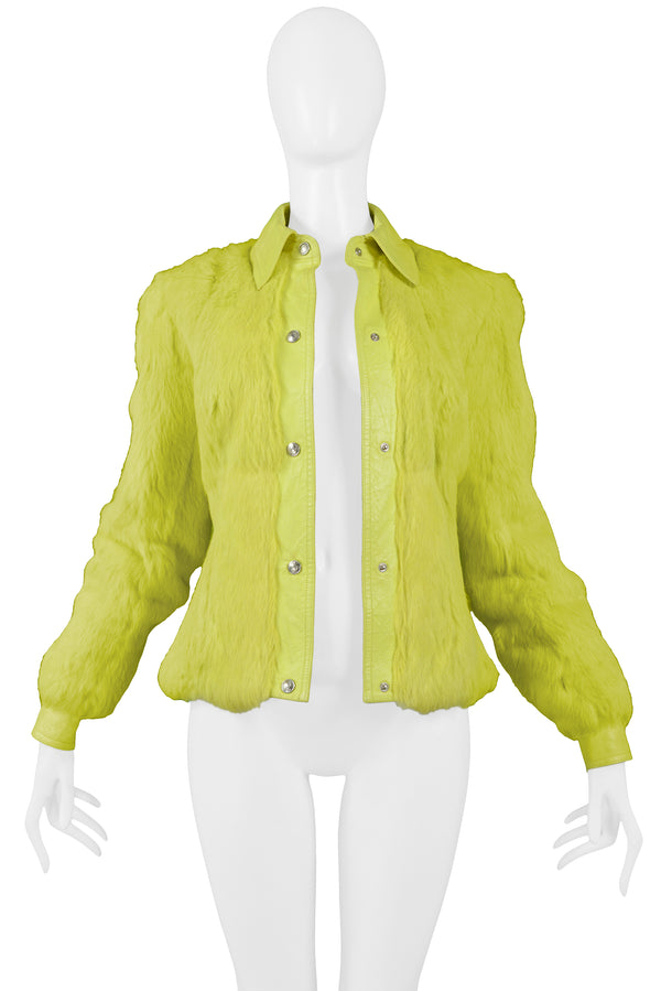 NEON YELLOW FUR AND LEATHER JACKET