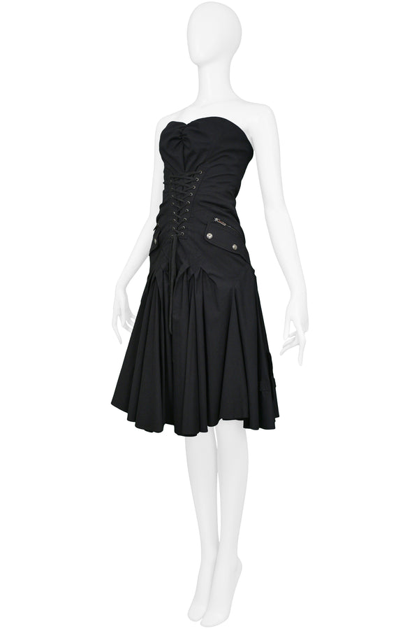 DIOR BLACK COTTON CARGO DRESS 2003