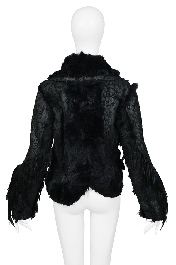DIOR 2006 BLACK FUR & SHEARLING JACKET