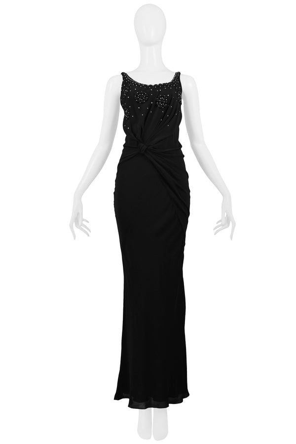 DIOR BLACK CRYSTAL KNOT GOWN