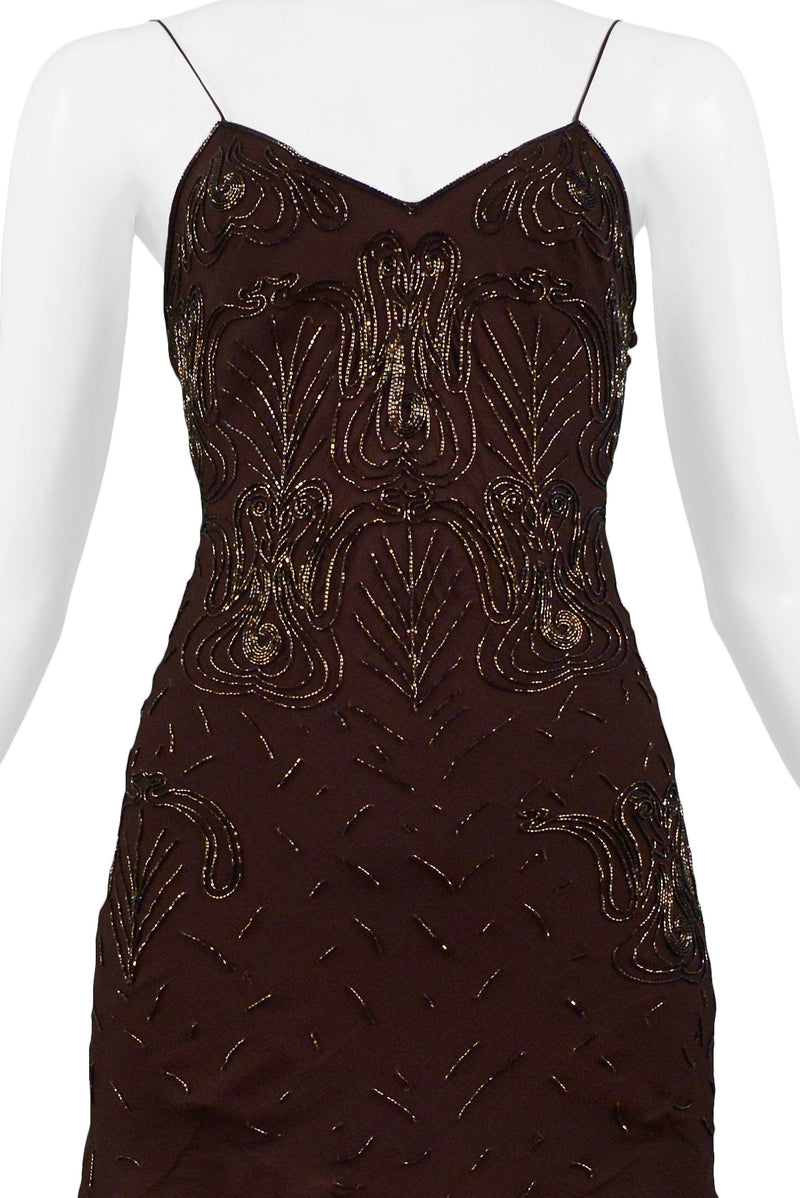 DIOR BROWN BEADED SILK SLIP DRESS