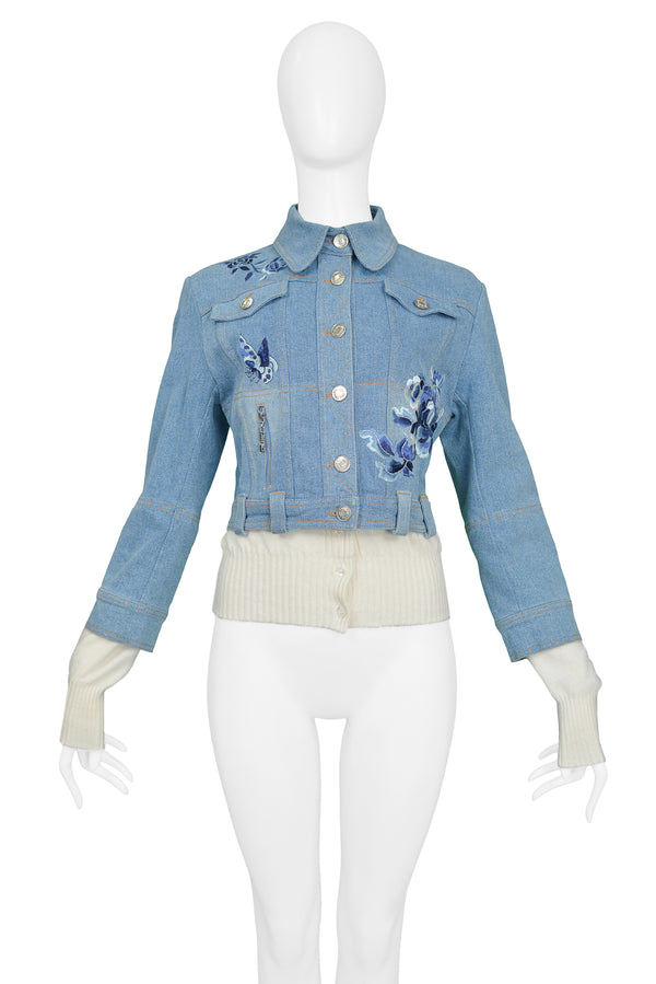 DIOR DENIM BLUE EMBROIDERED & KNIT JACKET