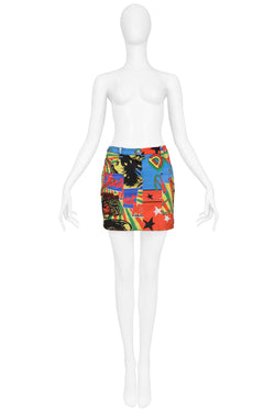 DIOR MULTICOLOR MARLEY DENIM MINI SKIRT 2004