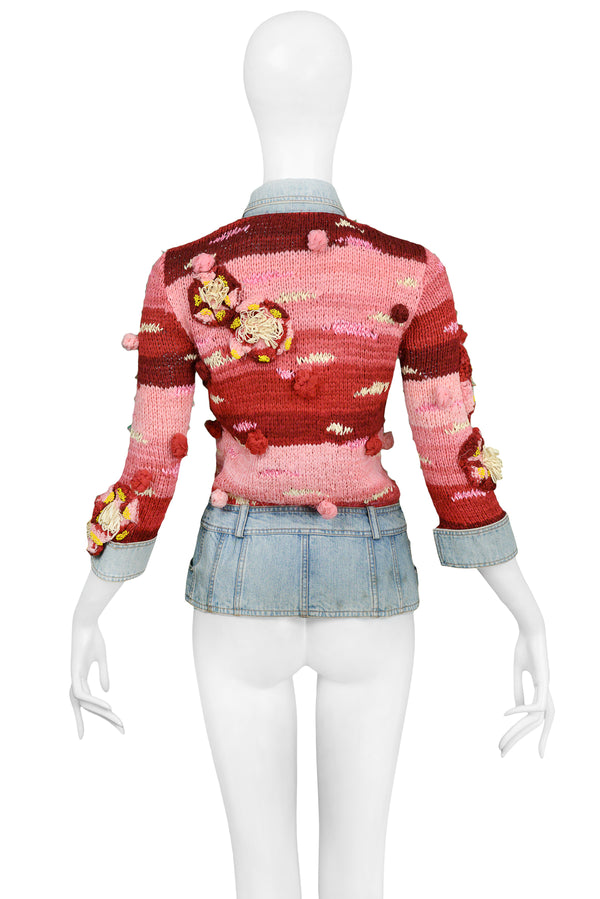 DIOR RED & PINK KNIT JACKET WITH DENIM 2005