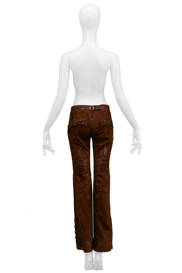 DOLCE BROWN FLORAL APPLIQUE SUEDE PANTS 2002