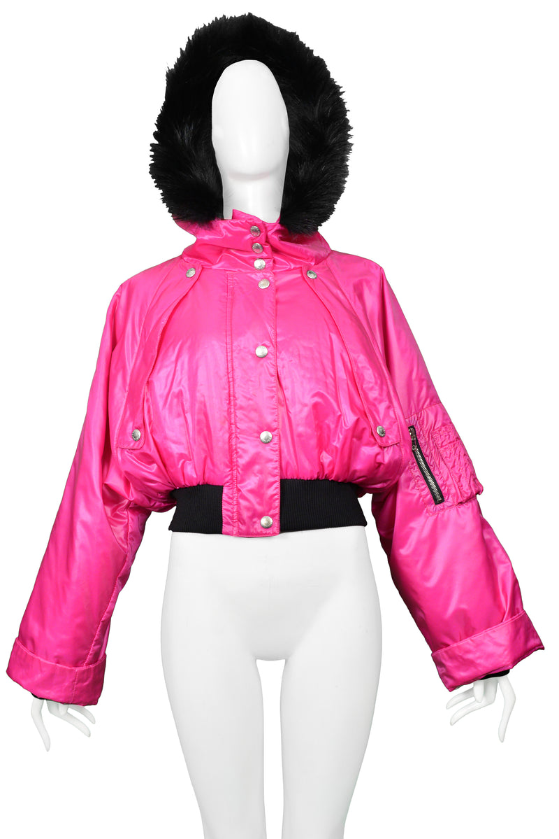 DOLCE MAGENTA BOMBER WITH HOOD & FUR TRIM