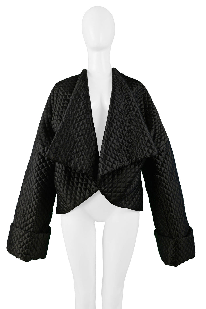 DOLCE BLACK QUILTED RHOMBUS STITCH KIMONO JACKET 1994-95