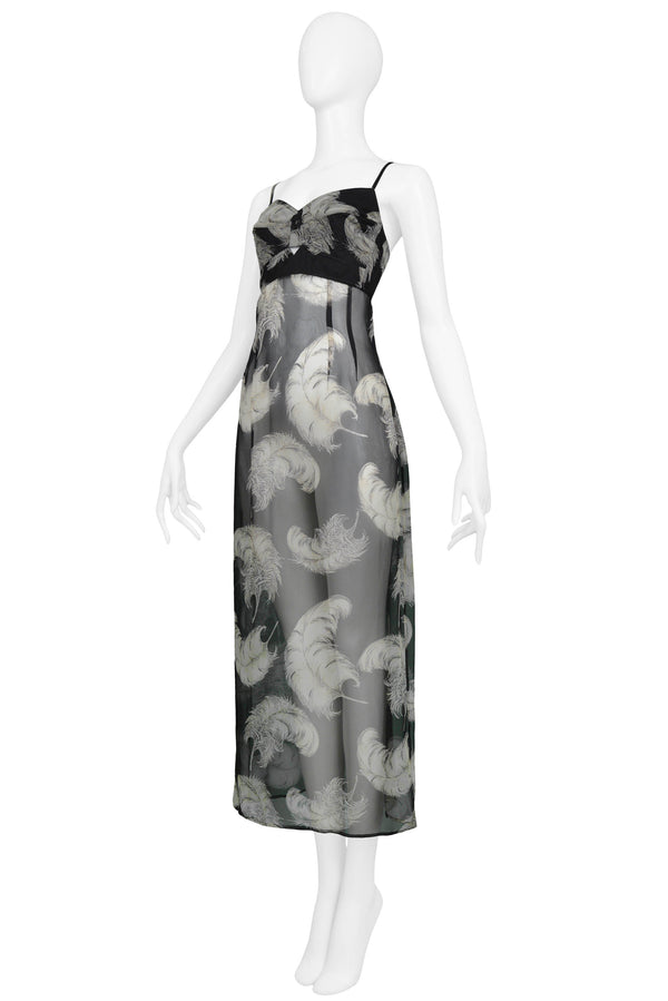 DOLCE BLACK & WHITE SHEER FEATHER DRESS 1997