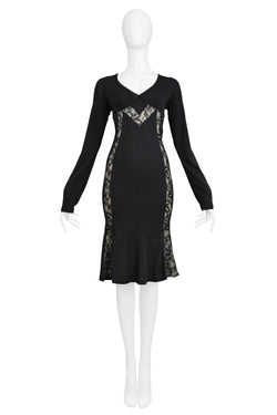 DOLCE D&G BLACK LACE PANEL BODY CON DRESS