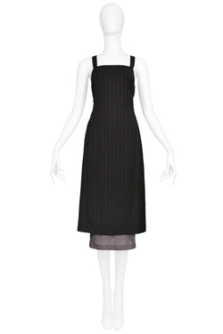 DOLCE GABBANA BLACK RED PINSTRIPE DRESS