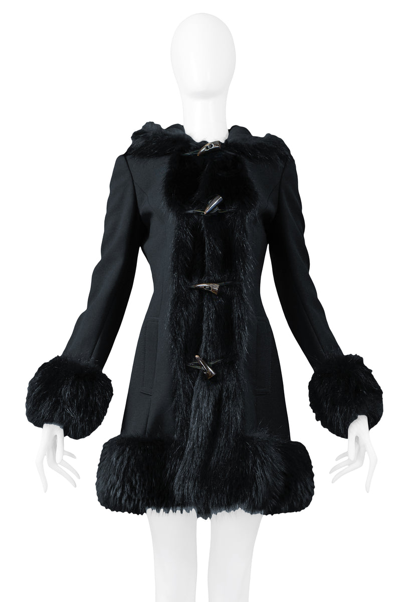 DOLCE BLACK WOOL TOGGLE COAT WITH FUR TRIM HOOD